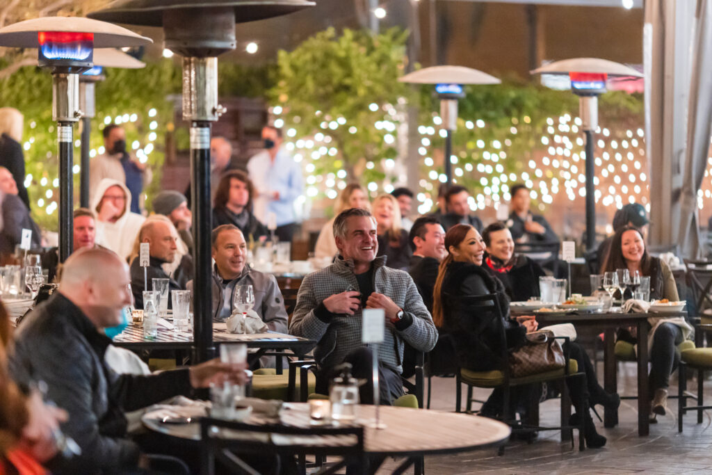 Tiato. Socially distanced tables, heat lamps and beautiful lighting provided the perfect outdoor venue.