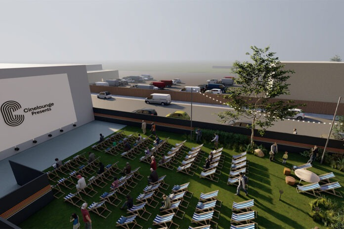 Photo attached: Artist's rendering of Cinelounge Outdoors