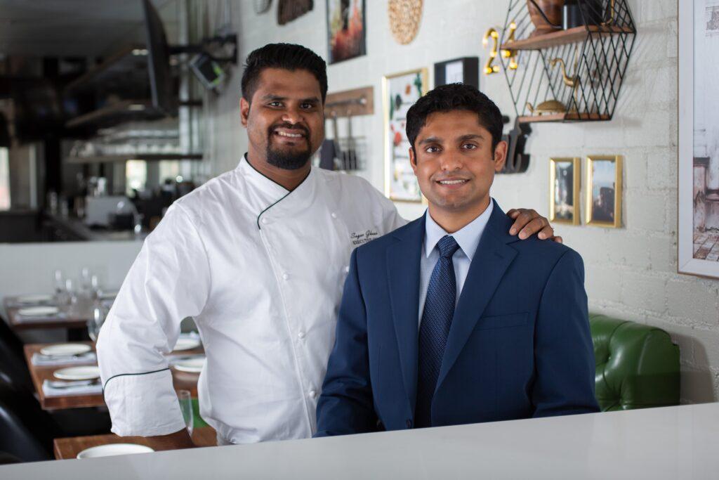 Mihir Lad with Executive Chef Sagar Ghosh at Arth Bar + Kitchen in Culver City